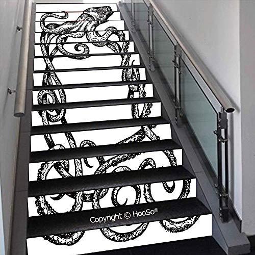 PUTIEN Self-Adhesive Stair Risers Stickers Vinyl Staircase Stickers Stairway Decal Wallpaper, Waterproof, Anti-Stain,Retro Gothic Dead Skeleton Figures with Rose Halloween Spook,39.3