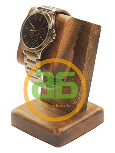 (Sale for Today ONLY - AB Handicrafts - Mango Wood Polish Wooden Watch Stand/Dock/Station/Platform for All Models/Moms, DADS, Grandparents (Watch Stand Burn Finish))