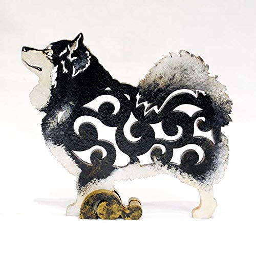 Black Finnish Lapphund dog figurine, dog statue made of wood (MDF), statuette hand-painted