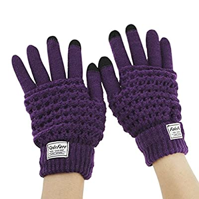 Woman Magic Knit Gloves Knit Phone Texting Touch Screen Gloves Mittens Solid Colors for Cold Weather