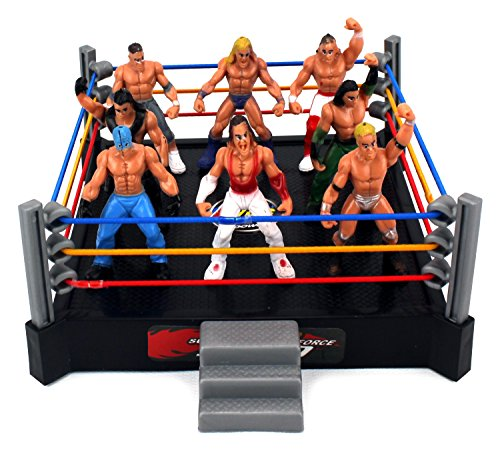 VT Mini Combat Action Wrestling Toy Figure Play Set w/ Ring, 8 Toy Figures (Rollins Action New Seth Figure)