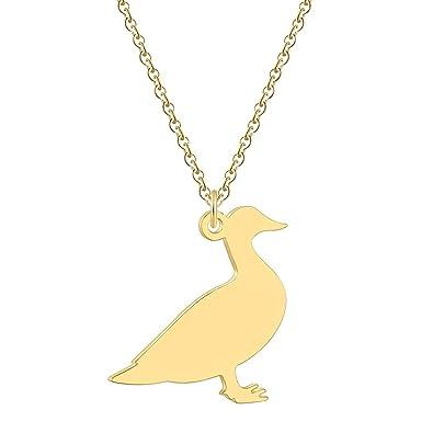 Amazon.com: Collar de pato de color oro rosa, cadena de ...