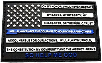 Parche de Leo Oath de la bandera de los Estados Unidos, línea azul fina de la policía (caucho de PVC de madera): Amazon.es: Juguetes y juegos