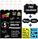 White Chalk Markers by Vaci, Pack of 5 White Markers Drawing Stencils + 16 Labels, Premium Liquid Chalkboard Neon Pens, Professional White Ink Tips