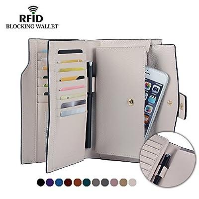 Befen Women's RFID Blocking Luxury Full Grain Genuine Leather Bifold Trifold Wallet Multi Card Organizer Holders for Ladies