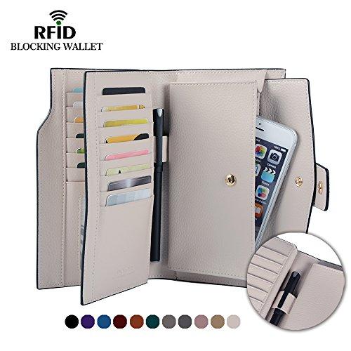 Befen Women's RFID Blocking Luxury Full Grain Genuine Leather Bifold Trifold Wallet Multi Card Organizer Holders for Ladies (Cream White RFID Wallet Large) - Leather Tri Fold Handbag