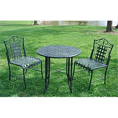 Mandalay Wrought Iron Patio Bistro Set by International Caravan