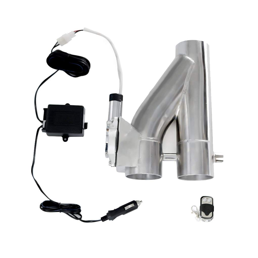 AUWU 3'' 2 in 1 Stainless Steel Electric Exhaust Cutoff Bypass Y Type Valve Remote Control Kit Car Accessories