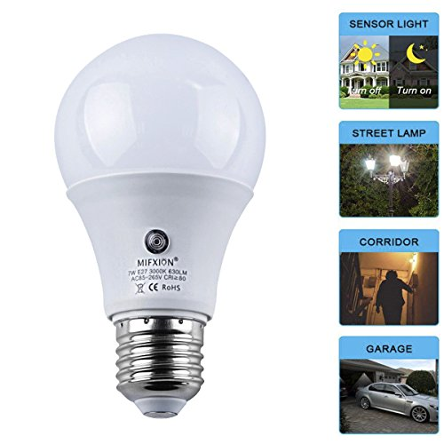 TOPCHANCES 7W E27 Dusk to Dawn Energy Save Smart Automatic Sensor LED Ball Bulbs, Warm White 3000K