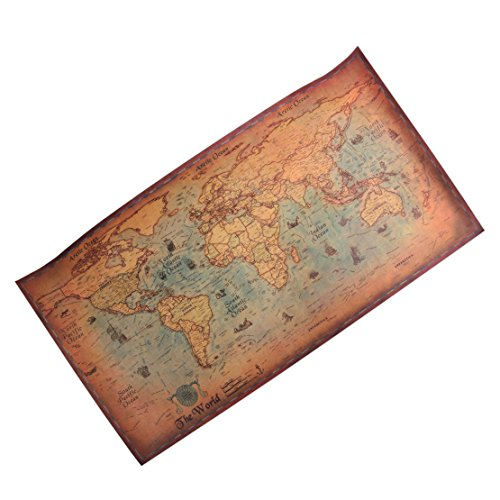 Globe Map Of The World Poster Antique World Map Poster Wall Decor Kraft Paper