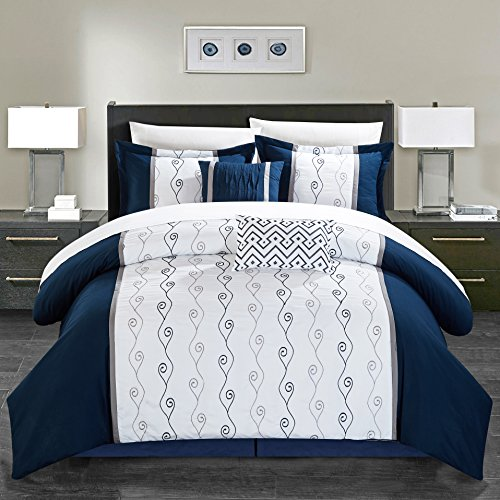 Chic Home Priston 6 Piece Comforter Set Color Block Embroidered Bedding - Bed Skirt Decorative Pillows Shams Included Queen Navy -