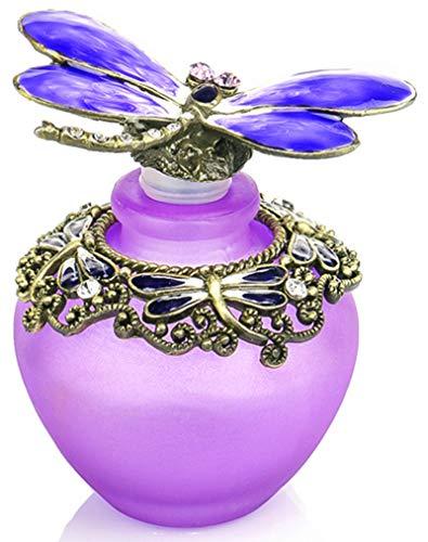 YU FENG 40ml Fancy Purple Gragonfly Empty Refillable Glass Perfume Bottle,Retro Frosted Butterfly Lid Perfume Bottle