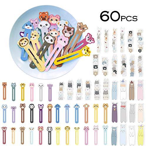 Cute Animal Bookmarks for Kids Children Boys Girls, Funny Novelty Ruler Book Marker for Student(60 Pack)]()