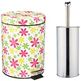 2 pc Imprint On Graphic Design Pattern Printed Round Metal Trash Bin Can (5L) with Toilet Brush (Spring Floral)