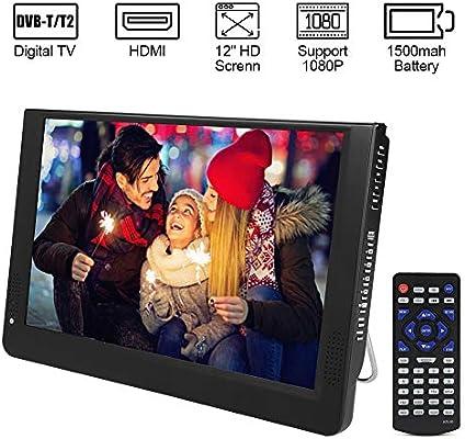 Diyeeni Televisor LED TFT HD DVB-T / T2 portátil de 12 Pulgadas, TV Digital ATV/UHF/