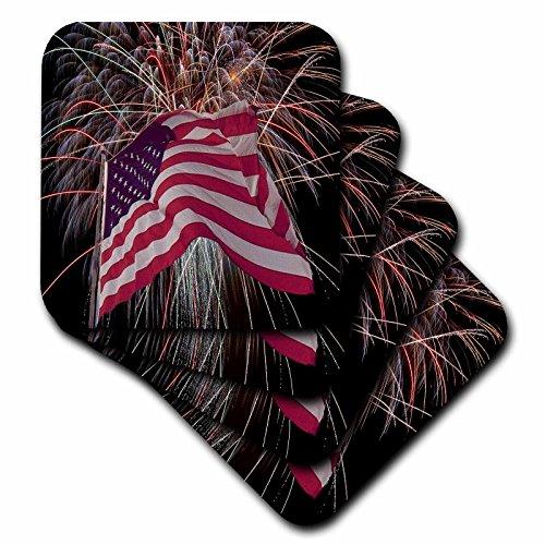 American Flag Tile (3dRose Fireworks and American flag - Ceramic Tile Coasters, Set of 4 (cst_14246_3))