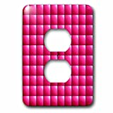 3dRose Russ Billington Patterns - Large Mosaic Tiles Pattern in Pink - Light Switch Covers - 2 plug outlet cover (lsp_261921_6)