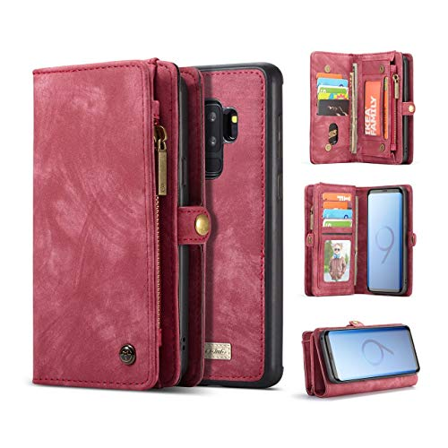Galaxy S9+ Case Wallet KONKY Samsung Galaxy S9 Plus Wallet Case, Magnetic Detachable Phone Cover Pouch Folio Leather Purse Flip Card Pockets Holder Bag Smooth Zipper - Red