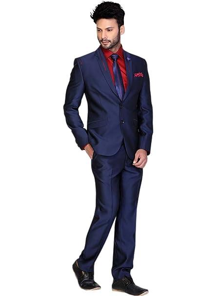 Bharat Plaza Men\u0027s Navy Blue \u0026 Red Polyester Suit Piece With