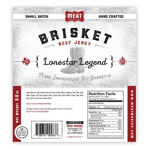 Meat Maniac Brisket Beef Jerky 3oz (Lonestar Legend Brisket Jerky)