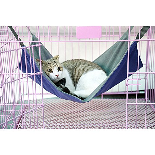 Cat Cage Hammock Bed, Pet Cushion Crib,Soft Cotton Oxford Fabric Table Hanging Bed Hammock for Kittens Puppy Rabbit (s, blue)