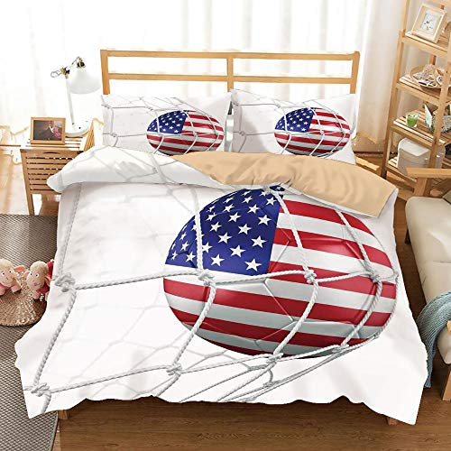 Sports Decor Khaki Duvet Cover Set Full/Queen Size,USA American Flag Printed Soccer Ball in a Net Goal Success Stylized Artwork,Decorative 3 Piece Bedding Set with 2 Pillow Shams,]()