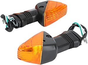 Akozon Turn Signal Light 2PCS Motorcycle Modification Accessories Turn Signal Lamp for KAWASAKI NINJA ZX-6R 636 600 ZX-6RR KLE 500 KLE 650 VERSYS KLR 650 Z750S(Black+Yellow)