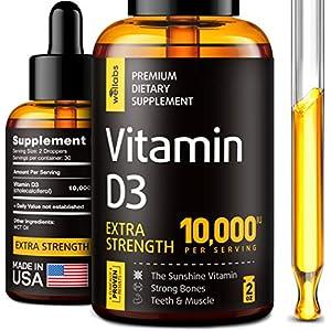Gut Health Shop 51RFR5TdMpL._SS300_ Vitamin D3 Drops - Extra Strength Vitamin D3 10000 IU - Made in The USA - High Dose Vitamin D3 - Premium & Natural…