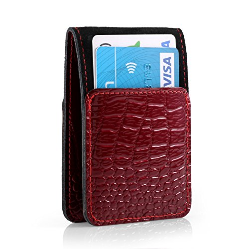 SURAZO Cayme - Leder Geschenkset Handy Schutzhülle, Card Holder, Schlüsselring - Farbe Rot Vintage Kollektion für Huawei Nova (5,00 Zoll)
