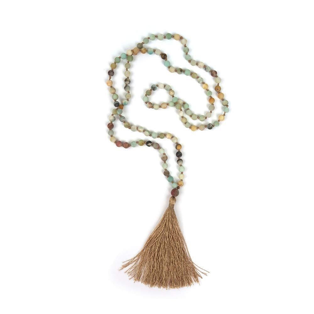KAMRESH Long Matte ite Stone Necklace Wrap Bracelets with Tassel Pendant Women Men Handmade Jewelry for Yoga Meditation Rosary Prayer