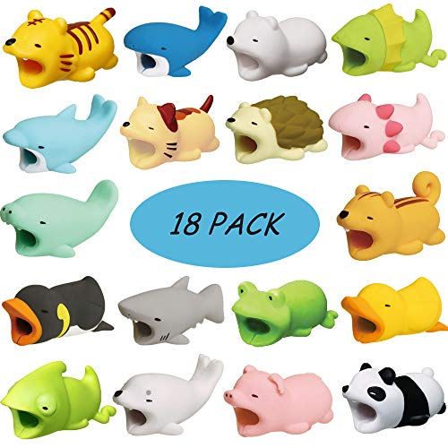 (Kalolary 18 Pack Cute Animal Cable Bite, Cable Cord Charger Protector Compatible with Phone Data Line Protects Cell Phone Cable Accessories)