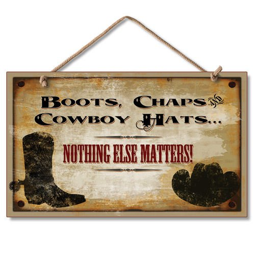 Rustic Western Cowboy Hat Sign Boot Country Wall Decor Plaque (Western Sign Decor)