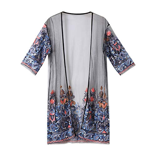 LISTHA Floral Mesh Cardigan Kimono Women 3/4 Sleeve Embroidery Blouse Cover Up Black
