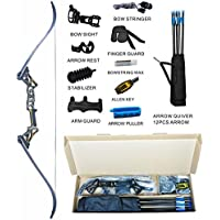 Topoint Archery Recurve Bow Set Archery Takedown R3 58 Inch RH Target&Hunting Ready to Shoot