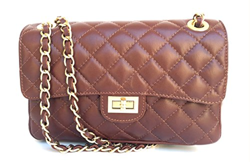Parigi Made Classic Italy SUPERFLYBAGS Women's Brown in Handbag Quilted model Genuine Leather Italian qUR0zqw