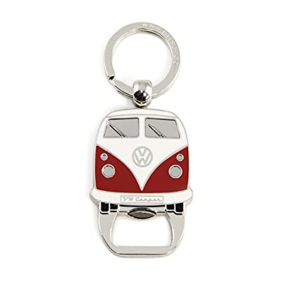 BRISA VW Collection - Volkswagen Samba Bus T1 Camper Van Key Ring Chain/Bottle Opener, Gift Idea/Fan Souvenir/Retro Vintage Product (Red): Automotive