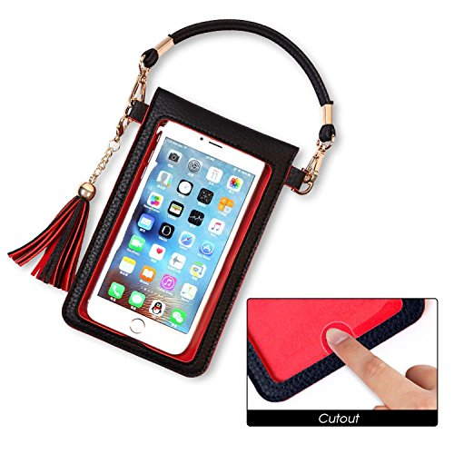 LKZAIY PU Leather Crossbody Bag Mini Phone Pouch with Shoulder Strap for iPhone X,8 Plus, 7 Plus, 6S Plus, 6 Plus,8, 7, 6S, 6, 5S, 5C, Samsung S8, S7 Edge, S6 Edge+, S6, S5, S4, J3, J7 (Black+Red) by LKZAIY