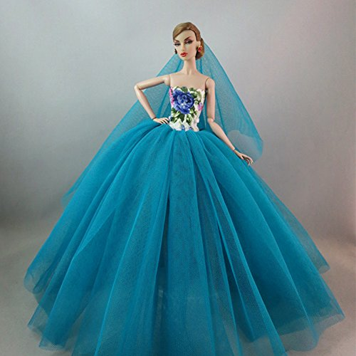 Amyove Doll Clothing Elegant Evening Wear Princess Large Tailed Wedding Dress Noble Party Gown for Barbie Doll Outfit Best Gift Best Gift for Kids Malachite green