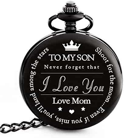 "To My Son | Mother and Son Gift - Engraved ""To My Son Love Mom"" Pocket Watch - Perfect Gifts for Son from Mom for Christmas, Valentines Day, Birthday"