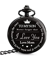 """To My Son   Mother and Son Gift - Engraved """"To My Son Love Mom"""" Pocket Watch - Perfect Gifts for Son from Mom for Christmas, Valentines Day, Birthday"""