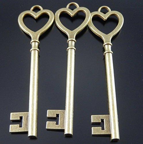 RP Supply Heart Key Pendants Antique Bronze Skeleton Key Charms Large Size 22x84mm Set of 4 ()