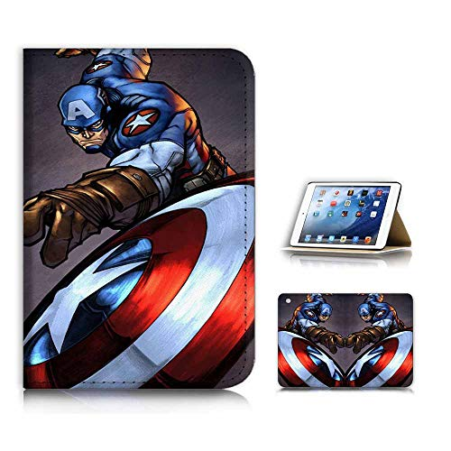 (for iPad Mini 1 2 3) Flip Case Cover & Screen Protector Bundle - A21717 Captain America (Ipad 2 Mini Captain America)