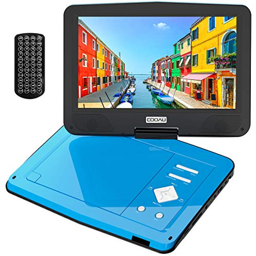 """le DVD Player with 5hrs Built-in Battery, Upgraded High-Brightness 10.5"""" Swivel Screen, Region Free, Support Dual Headsets, AV-Out, SD & USB, Light Blue ()"""