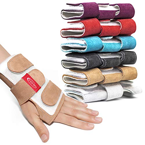 Zhezhera Suede Tiger Gymnastics Wrist Supports Paws Sand Wraps: Variety of Colors - for Girls, Kids and Child, Professionals Gymnasts and Cheerleaders (Gold S)
