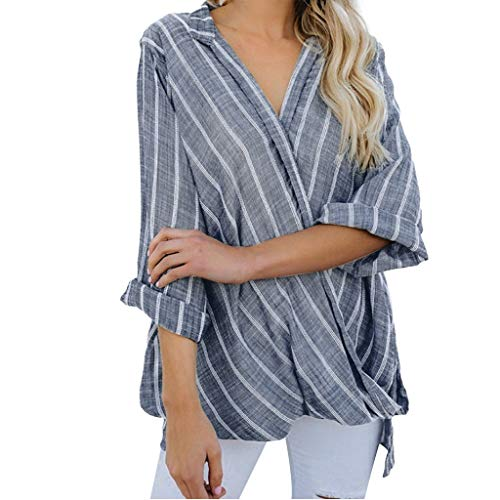 Rakkiss_ Women Vest Stripe T-Shirt Loose Blouse Comfortable Top Casual Pullover Tunic Gray