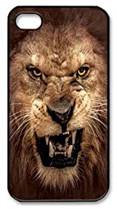 iPhone 4s Case and Cover -Big Face Roaring Lion PC Hard Plastic Case for iPhone 4/4S Black