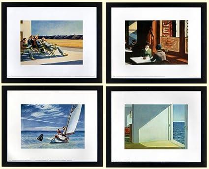 Amazon.com: Edward Hopper Set of 4 Framed Art Prints Custom Framed ...