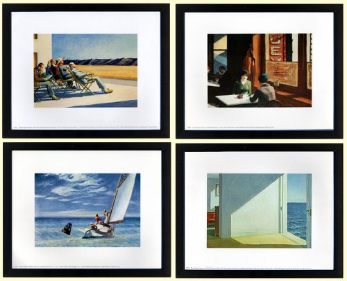 Edward Hopper Set of 4 Framed Art Prints Custom Framed A+ Quality (Hopper Framed Art)
