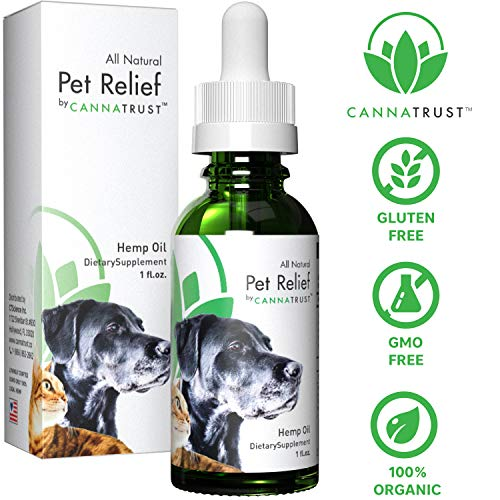 (CannaTrust All Natural Pet Relief Full Spectrum Hemp Extract Oil for Dogs and Cats, Relieve Your Pets Anxiety, Stress, Pain and Inflammation 1oz, Add to Treats, Calming)