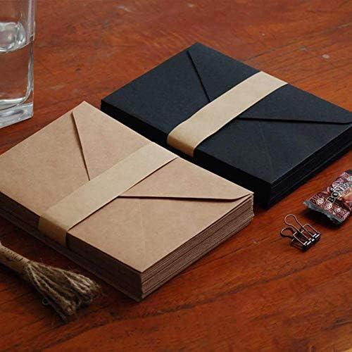 Koogel 100 Stk. Kraftpapier Umschläge, Vintage Briefumschläge C6 Kuvert für Weihnachten Hochzeiten Einladungkarten Geschenkkarten
